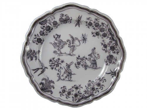 Plate with grotesques Moustiers 18th century
