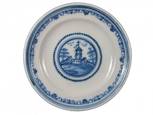 18th century Varages faïence soup plate
