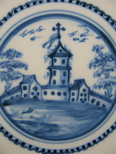 Porcelain & Faience  - 18th century Varages faïence soup plate