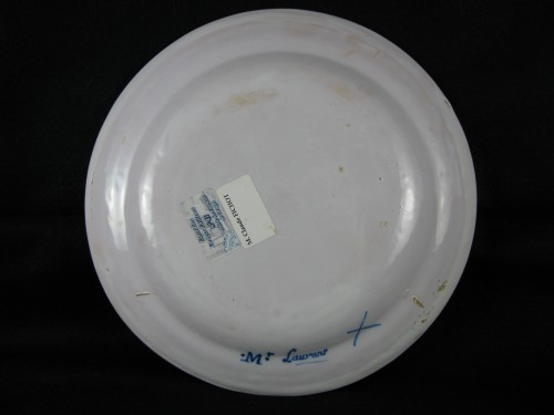 18th century - 18th century Varages faïence soup plate