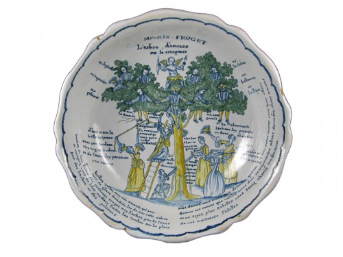 Large bowl decorated with the tree of love in Nevers earthenware - 18th century