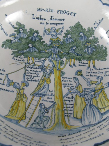Large bowl decorated with the tree of love in Nevers earthenware - 18th century - Porcelain & Faience Style Louis XV