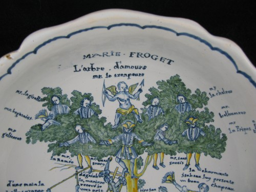 Porcelain & Faience  - Large bowl decorated with the tree of love in Nevers earthenware - 18th century