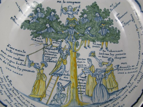Large bowl decorated with the tree of love in Nevers earthenware - 18th century -