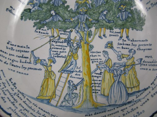 18th century - Large bowl decorated with the tree of love in Nevers earthenware - 18th century