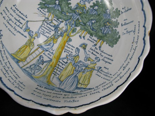 Large bowl decorated with the tree of love in Nevers earthenware - 18th century - Louis XV