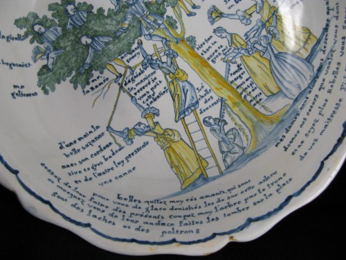 Louis XV - Large bowl decorated with the tree of love in Nevers earthenware - 18th century