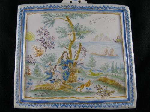 Porcelain & Faience  - Decorative plate in Moustiers earthenware - 18th century