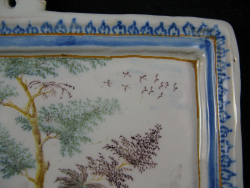 Antiquités - Decorative plate in Moustiers earthenware - 18th century