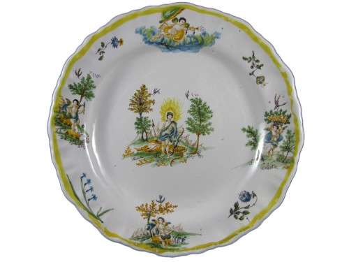 Moustiers earthenware plate - 18th century