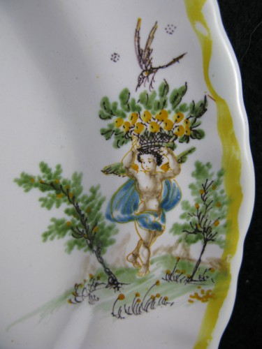 18th century - Moustiers earthenware plate - 18th century