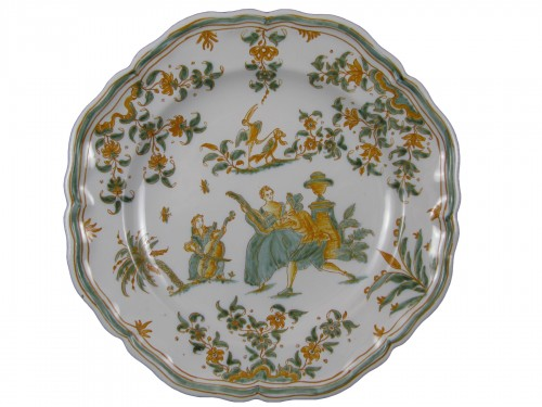 Plate with decoration of a gallant scene Moustiers 18th century
