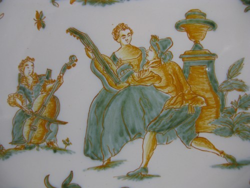 Plate with decoration of a gallant scene Moustiers 18th century -