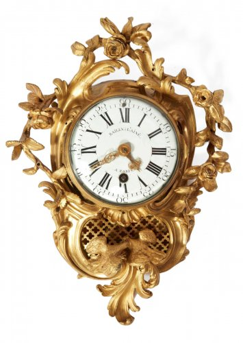 A French gilt bronze small cartel clock
