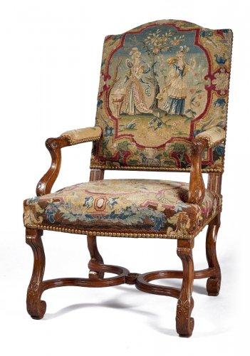 belle paire de grands fauteuils louis xiv xviie si cle. Black Bedroom Furniture Sets. Home Design Ideas