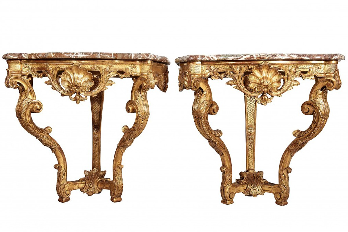 Pair Of Wall Mounted Console Tables