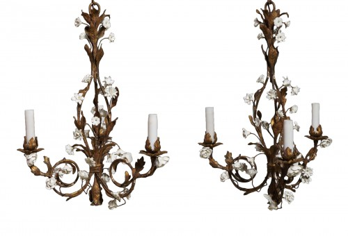 Pair of small chandeliers, late 19th century