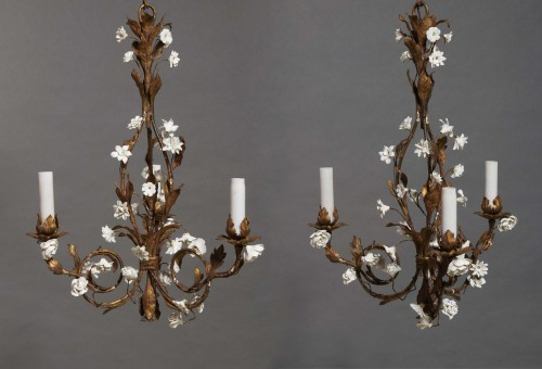 Pair of small chandeliers, late 19th century -