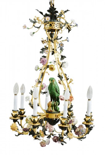 Bronze and porcelain cage chandelier