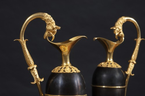 Decorative Objects  - Pair Of Jugs With Griffin Head Handles