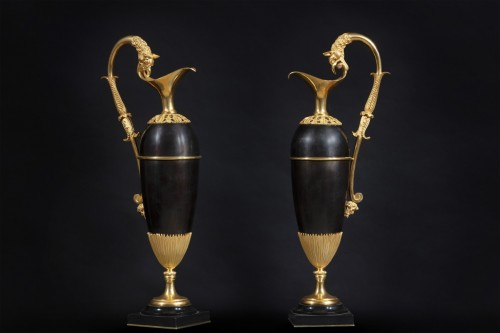 19th century - Pair Of Jugs With Griffin Head Handles