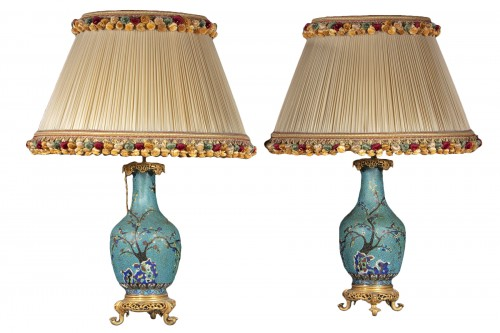 Pair Of Cloisonne Vases Mounted On Lamp