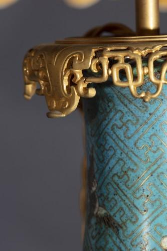 Pair Of Cloisonne Vases Mounted On Lamp - Lighting Style Napoléon III