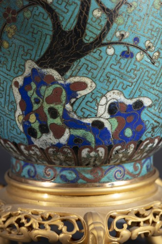 Lighting  - Pair Of Cloisonne Vases Mounted On Lamp
