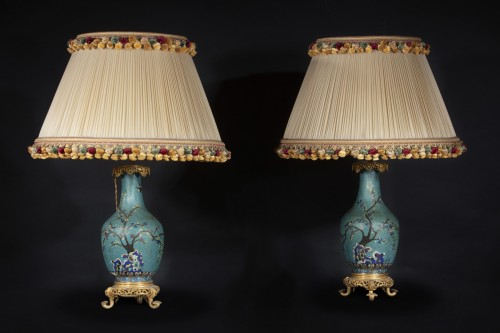 19th century - Pair Of Cloisonne Vases Mounted On Lamp