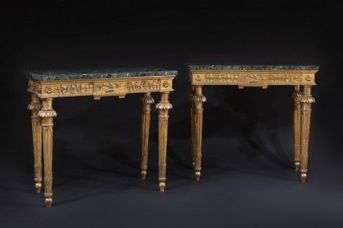 18th century - Pair of late 18th century  Genoese Consoles