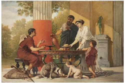 Hospitality in a villa in Pompeii - Cesare dell'Acqua (1821 - 1905)
