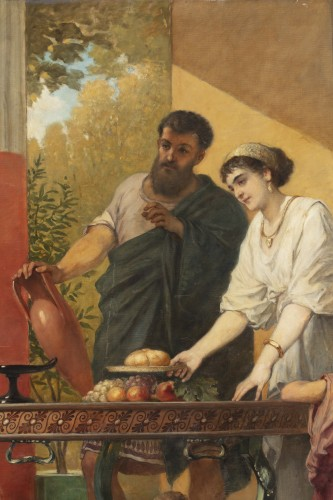 Paintings & Drawings  - Hospitality in a villa in Pompeii - Cesare dell'Acqua (1821 - 1905)