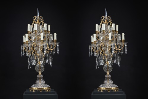 Pair Of girandoles In Cut And Engraved Crystal