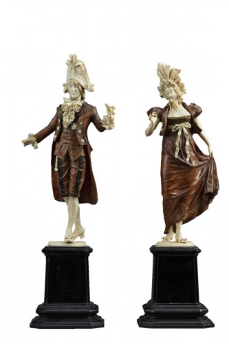 Pair of 19th century ivory and wood sculptures