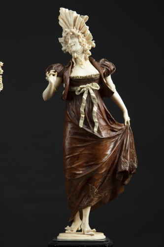 Pair of 19th century ivory and wood sculptures - Sculpture Style