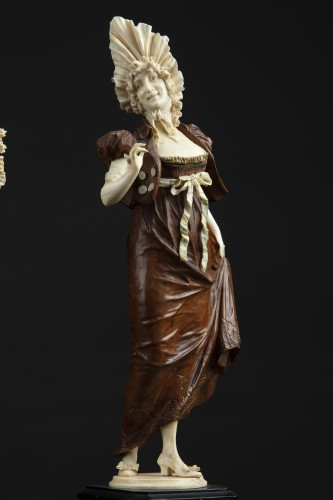 Pair of 19th century ivory and wood sculptures -