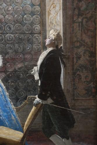 Paintings & Drawings  - Gallant scene - Mosè Bianchi (Monza 1840-1904)