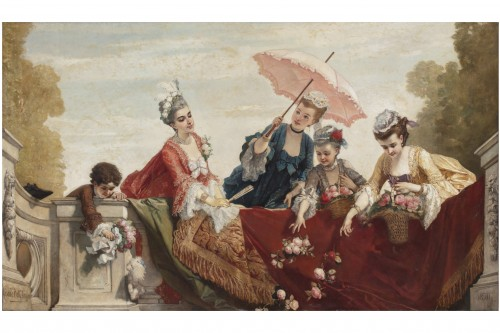 Large Painting -  Cesare dell'acqua - Paintings & Drawings Style Napoléon III