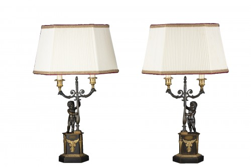 Pair Of Candlesticks Mounted On Lamp