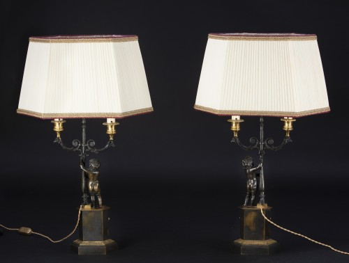 Pair Of Candlesticks Mounted On Lamp - Lighting Style Restauration - Charles X