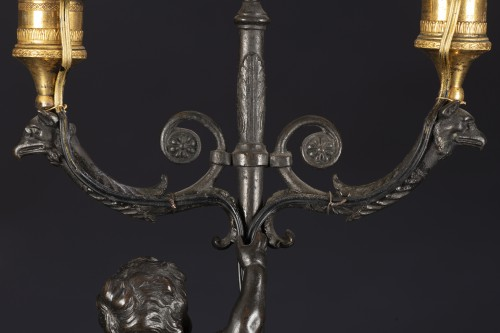 Lighting  - Pair Of Candlesticks Mounted On Lamp