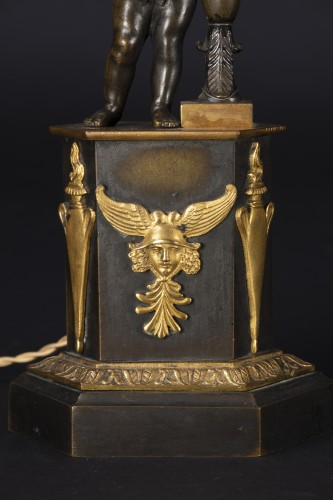 Pair Of Candlesticks Mounted On Lamp - Restauration - Charles X