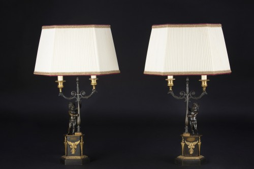 Restauration - Charles X - Pair Of Candlesticks Mounted On Lamp