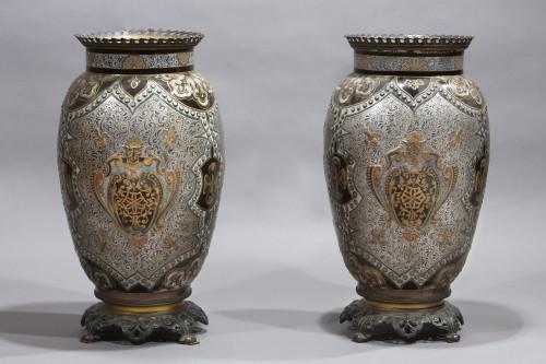 Pair Of Large Porcelain Vases - Porcelain & Faience Style Napoléon III