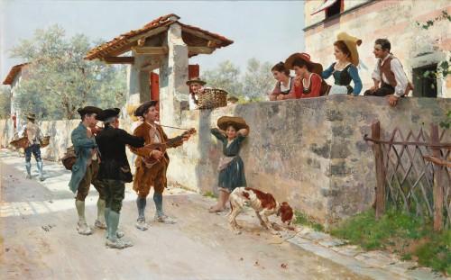 Paintings & Drawings  - La serenata - Raffaello Sorbi (1844-1931)