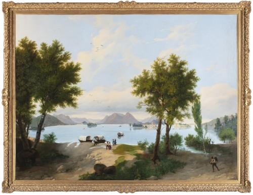 View of Lake Maggiore - Bartolomeo Giuliano (1825 - 1909)