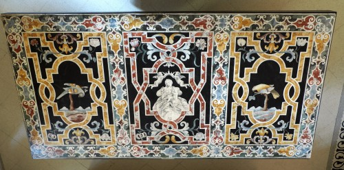 Important Frontal In Polychrome Scagliola - Decorative Objects Style Louis XIII