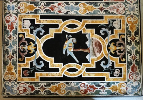Decorative Objects  - Important Frontal In Polychrome Scagliola