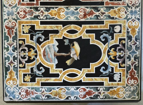 17th century - Important Frontal In Polychrome Scagliola
