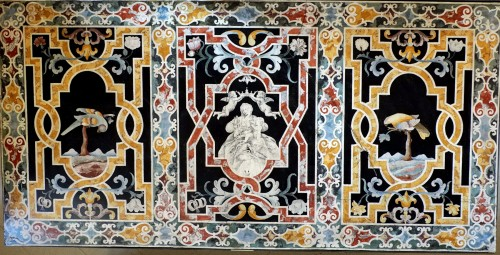 Important Frontal In Polychrome Scagliola - Louis XIII